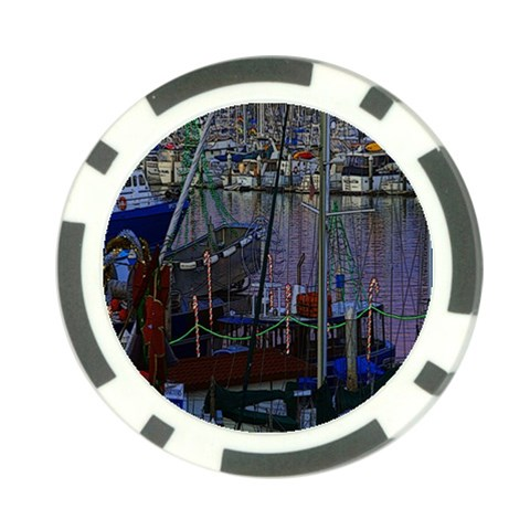 Christmas Boats In Harbor Poker Chip Card Guards (10 pack)
