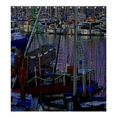 Christmas Boats In Harbor Shower Curtain 66  x 72  (Large)