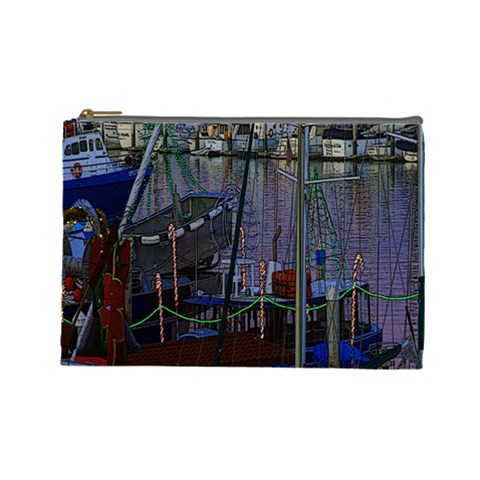 Christmas Boats In Harbor Cosmetic Bag (Large)