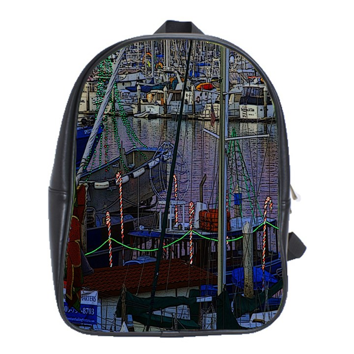 Christmas Boats In Harbor School Bags(Large)