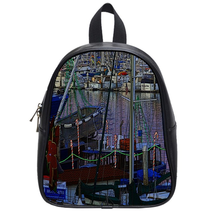 Christmas Boats In Harbor School Bags (Small)