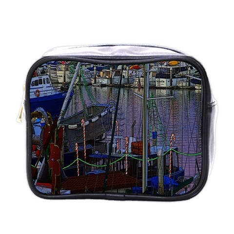 Christmas Boats In Harbor Mini Toiletries Bags