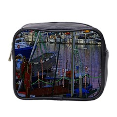 Christmas Boats In Harbor Mini Toiletries Bag 2-Side