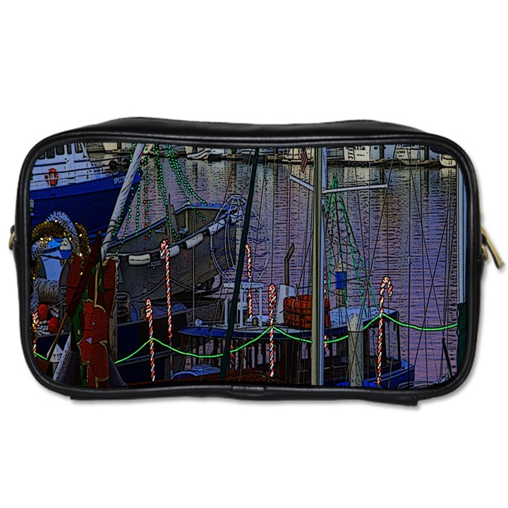 Christmas Boats In Harbor Toiletries Bags