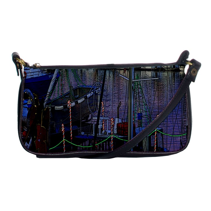 Christmas Boats In Harbor Shoulder Clutch Bags
