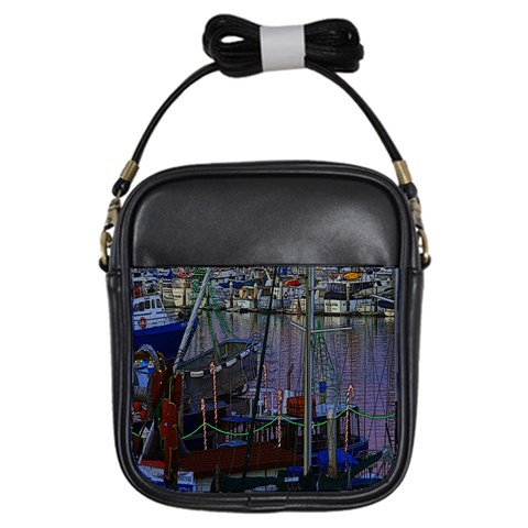 Christmas Boats In Harbor Girls Sling Bags