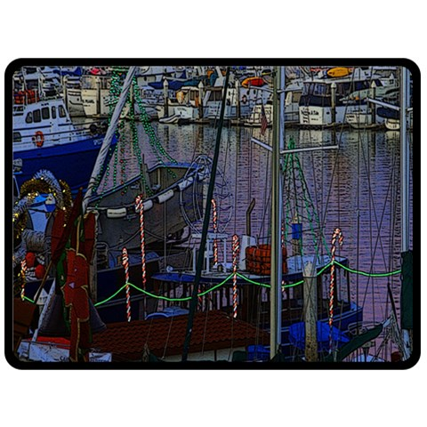 Christmas Boats In Harbor Fleece Blanket (Large)