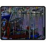 Christmas Boats In Harbor Fleece Blanket (Large)  80 x60 Blanket Front