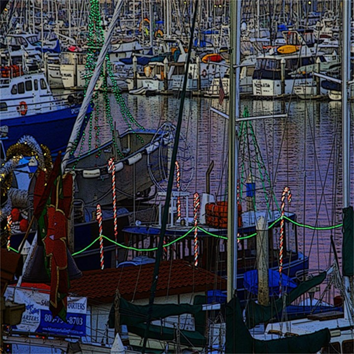 Christmas Boats In Harbor Magic Photo Cubes