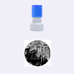 Christmas Boats In Harbor Rubber Round Stamps (Small)