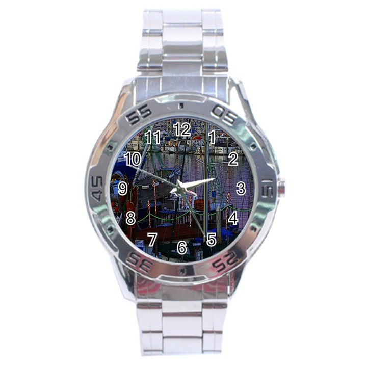 Christmas Boats In Harbor Stainless Steel Analogue Watch