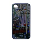Christmas Boats In Harbor Apple iPhone 4 Case (Black) Front