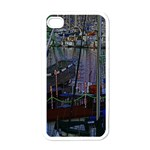 Christmas Boats In Harbor Apple iPhone 4 Case (White) Front