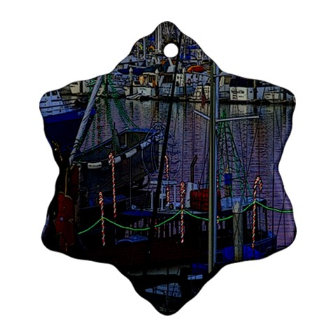 Christmas Boats In Harbor Snowflake Ornament (2-Side)