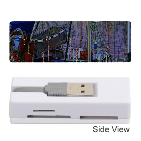 Christmas Boats In Harbor Memory Card Reader (Stick)