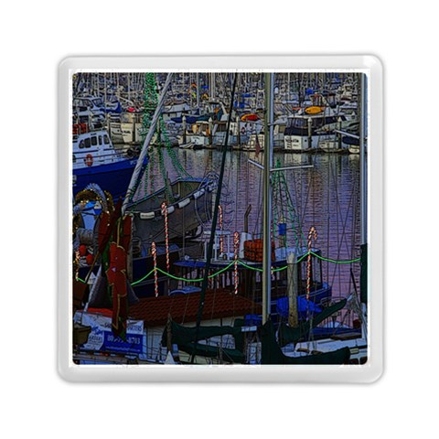 Christmas Boats In Harbor Memory Card Reader (Square)