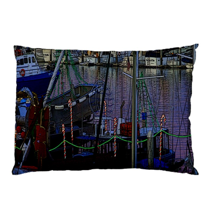 Christmas Boats In Harbor Pillow Case (Two Sides)