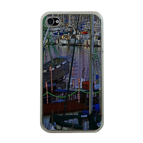 Christmas Boats In Harbor Apple iPhone 4 Case (Clear)