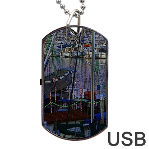 Christmas Boats In Harbor Dog Tag USB Flash (One Side)