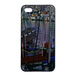 Christmas Boats In Harbor Apple iPhone 4/4s Seamless Case (Black) Front