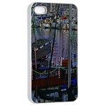 Christmas Boats In Harbor Apple iPhone 4/4s Seamless Case (White) Front