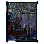 Christmas Boats In Harbor Apple iPad 2 Case (Black) Front