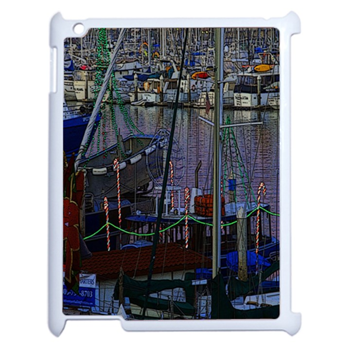 Christmas Boats In Harbor Apple iPad 2 Case (White)