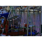 Christmas Boats In Harbor BOY 3D Greeting Card (7x5) Back