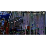 Christmas Boats In Harbor Twin Hearts 3D Greeting Card (8x4) Front