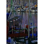 Christmas Boats In Harbor Circle Bottom 3D Greeting Card (7x5) Inside