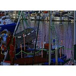 Christmas Boats In Harbor Circle 3D Greeting Card (7x5) Back