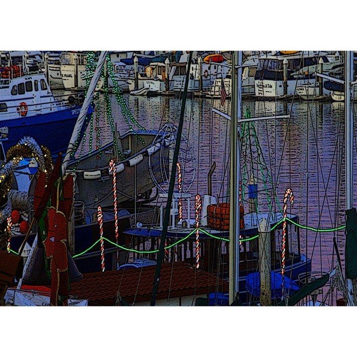 Christmas Boats In Harbor Birthday Cake 3D Greeting Card (7x5)