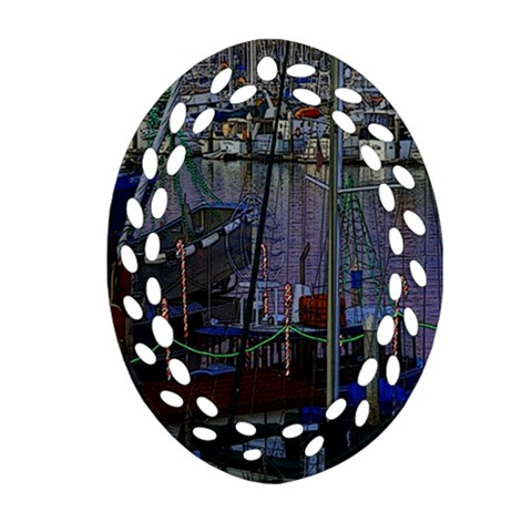 Christmas Boats In Harbor Ornament (Oval Filigree)