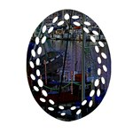 Christmas Boats In Harbor Ornament (Oval Filigree)  Front