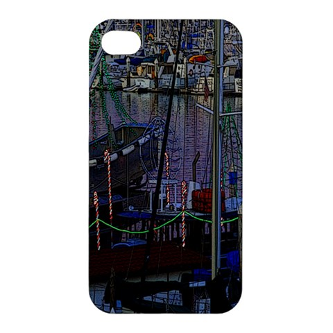 Christmas Boats In Harbor Apple iPhone 4/4S Hardshell Case