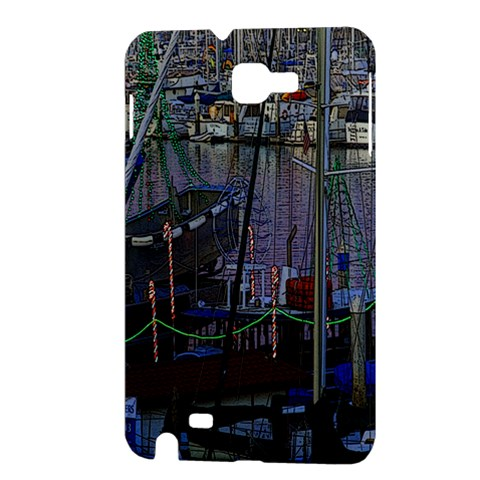 Christmas Boats In Harbor Samsung Galaxy Note 1 Hardshell Case