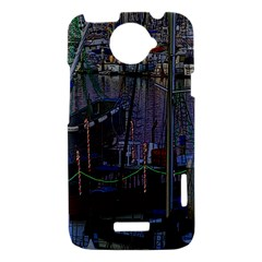 Christmas Boats In Harbor HTC One X Hardshell Case