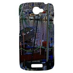 Christmas Boats In Harbor HTC One S Hardshell Case