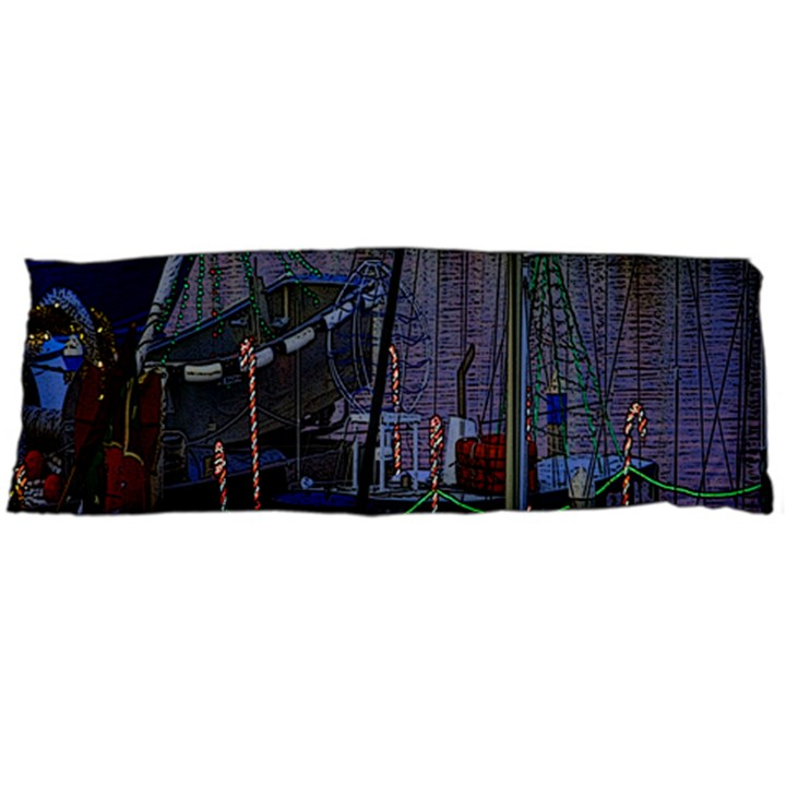 Christmas Boats In Harbor Body Pillow Case Dakimakura (Two Sides)