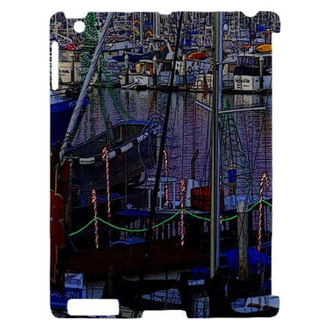 Christmas Boats In Harbor Apple iPad 2 Hardshell Case (Compatible with Smart Cover)