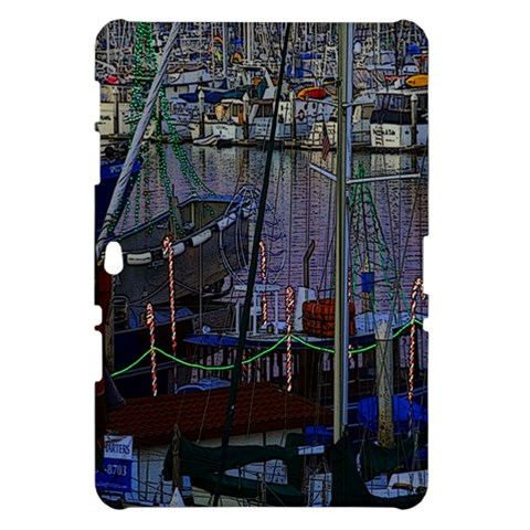 Christmas Boats In Harbor Samsung Galaxy Tab 10.1  P7500 Hardshell Case