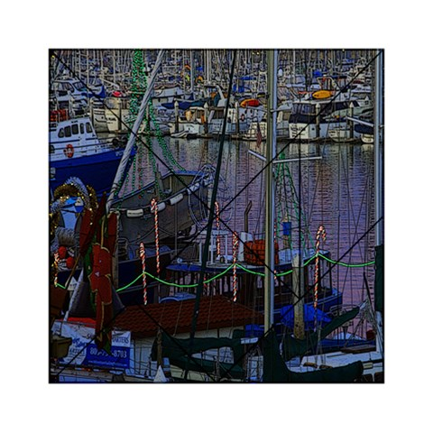 Christmas Boats In Harbor Acrylic Tangram Puzzle (6  x 6 )