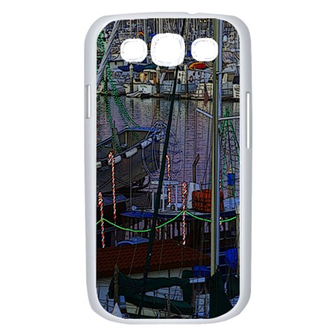 Christmas Boats In Harbor Samsung Galaxy S III Case (White)