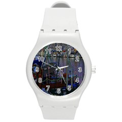 Christmas Boats In Harbor Round Plastic Sport Watch (M)