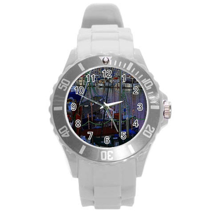 Christmas Boats In Harbor Round Plastic Sport Watch (L)