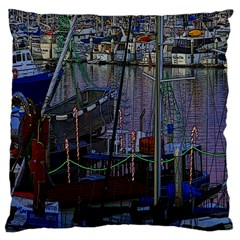 Christmas Boats In Harbor Large Cushion Case (One Side)