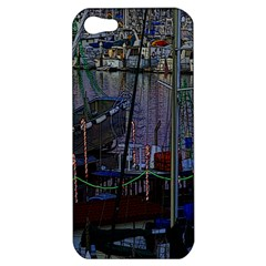 Christmas Boats In Harbor Apple iPhone 5 Hardshell Case