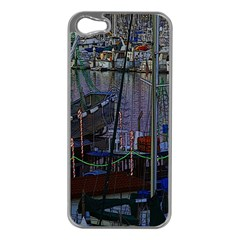 Christmas Boats In Harbor Apple iPhone 5 Case (Silver)