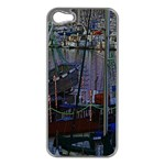 Christmas Boats In Harbor Apple iPhone 5 Case (Silver) Front