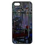 Christmas Boats In Harbor Apple iPhone 5 Seamless Case (Black) Front
